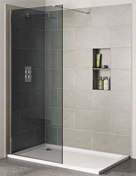 Prestige Frameless 700mm x 2000mm Wetroom Smoked Glass Panel