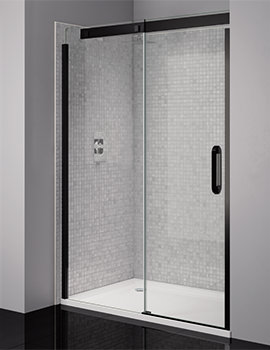 Prestige Frameless 1200mm Clear - Black Sliding Shower Door