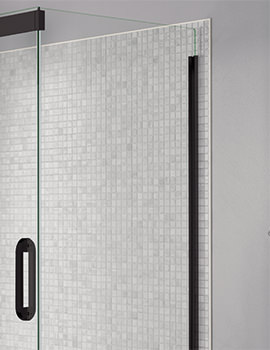 Prestige Frameless 760mm Clear - Black Side Panel For Shower Enclosure
