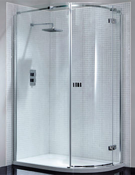 April Prestige Frameless 1000 x 800mm Single Door Offset Shower Quadrant