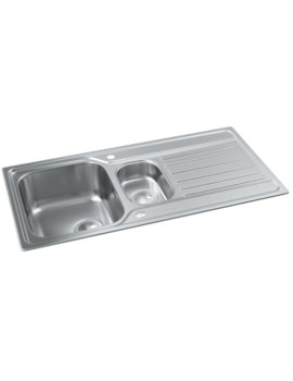 Connekt Stainless Steel 1.5 Bowl Kitchen Sink With Drainer