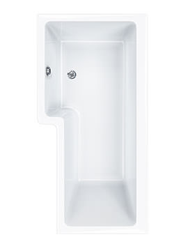 Quantum Square 5mm Acrylic Right Hand Shower Bath 1600 x 850mm