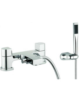 Block Dual Lever Deck Mounted Bath Shower Mixer Tap With Kit