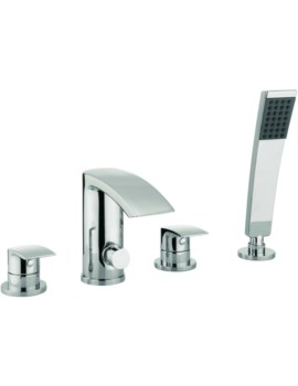 Crosswater Cone 4 Hole Deck Mounted Bath Shower Mixer Tap Set With Kit