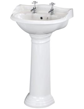 Regent 500mm 2 Tap Hole Basin And Pedestal