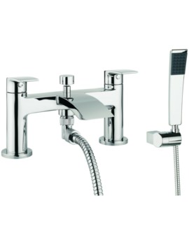 Crosswater Cone Dual Lever Deck Mounted Bath Shower Mixer Tap With Kit