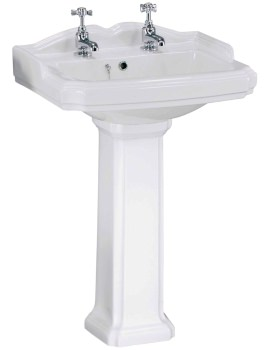 Legend 580mm 2 Tap Hole Basin And Pedestal