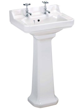 Carlton 500mm 2 Tap Hole Basin And Pedestal