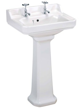 Carlton 560mm 2 Tap Hole Basin And Pedestal