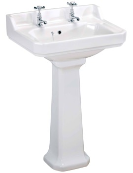 Carlton 600mm 2 Tap Hole Basin And Pedestal