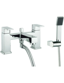 Cube Dual Lever Deck Mounted Bath Shower Mixer Tap With Kit