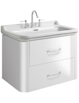 Waldorf 800mm White Gloss Basin Unit With 2 Bow Handles