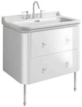 Waldorf 800mm White Gloss Basin Unit With Legs And 4 Knobs