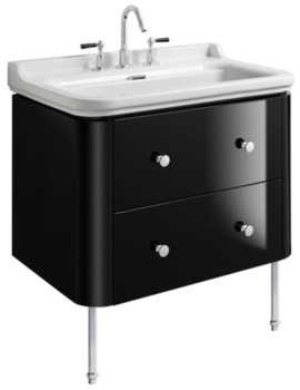 Waldorf 800mm Black Gloss Basin Unit With Legs And 4 Knobs