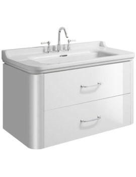 Waldorf 1000mm White Gloss Basin Unit With 2 Bow Handles