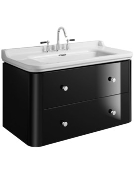Waldorf 1000mm Black Gloss Basin Unit With 4 Knobs
