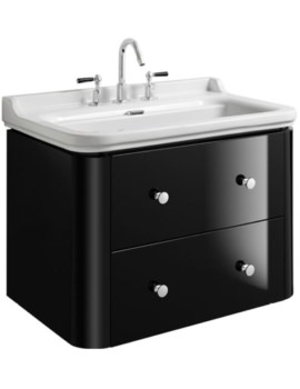 Waldorf 800mm Black Gloss Basin Unit With 4 Knobs