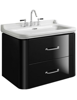 Waldorf 800mm Black Gloss Basin Unit With 2 Bow Handles