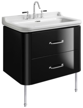 Waldorf 800mm Black Gloss Basin Unit With Legs And 2 Bow Handles