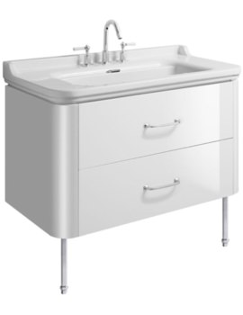 Waldorf 1000mm White Gloss Basin Unit With Legs And 2 Bow Handles