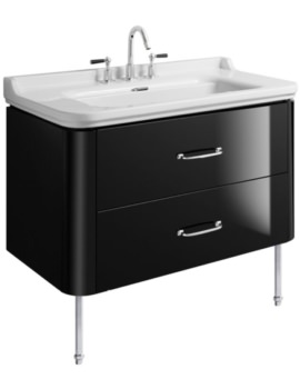 Waldorf 1000mm Black Gloss Basin Unit With Legs And 2 Bow Handles