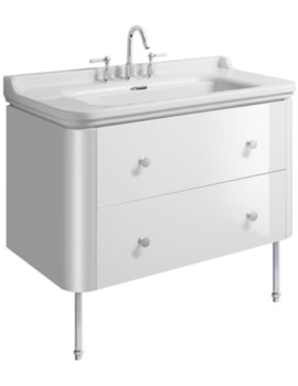 Waldorf 1000mm White Gloss Basin Unit With Legs And 4 Knobs