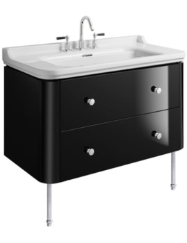Waldorf 1000mm Black Gloss Basin Unit With Legs And 4 Knobs
