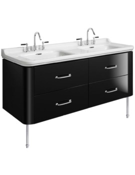 Waldorf 1500mm Black Gloss Basin Unit With Legs And 4 Bow Handles