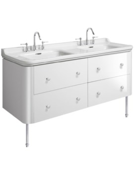 Waldorf 1500mm White Gloss Basin Unit With Legs And 8 Knobs