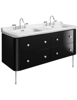 Waldorf 1500mm Black Gloss Basin Unit With Legs And 8 Knobs