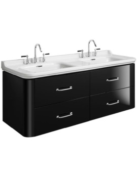 Waldorf 1500mm Black Gloss Basin Unit With 4 Bow Handles