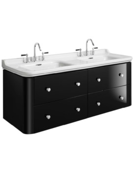 Waldorf 1500mm Black Gloss Basin Unit With 8 Knobs
