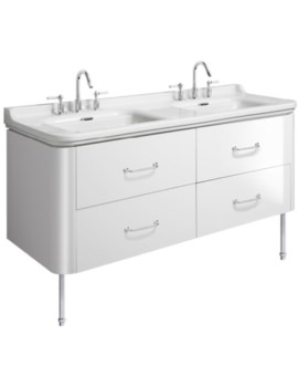 Waldorf 1500mm White Gloss Basin Unit With Legs And 4 Handles