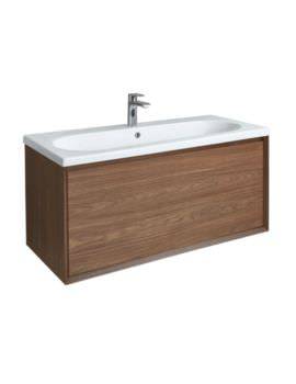 Enzo 1010mm Walnut Wall Mounted Vanity Unit With Ceramic Basin
