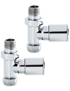 Pair Of Straight Minimalist Chrome Radiator Valves