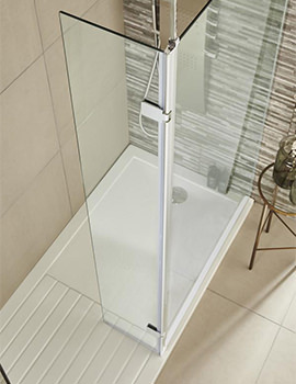 322 x 1850mm Wetroom Hinged Return Screen