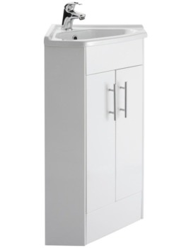555 x 800mm Corner Vanity Unit And Basin High Gloss White