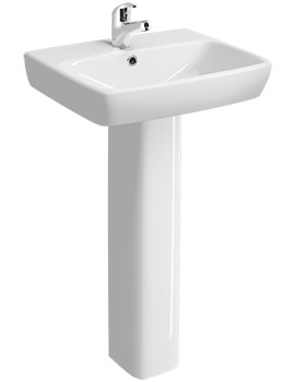 E100 Square 500 x 420mm 1 Tap Hole Washbasin With Full Pedestal
