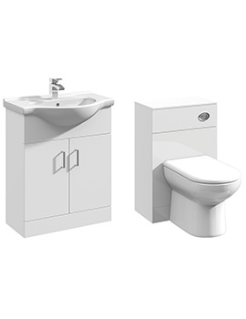2 Door 650mm Bathroom Vanity Unit With Back To Wall WC Unit