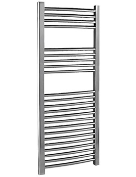 500 x 1100mm Chrome Curved Heated Towel Rail