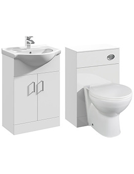 2 Door 550mm Bathroom Vanity Unit With Back To Wall WC Unit