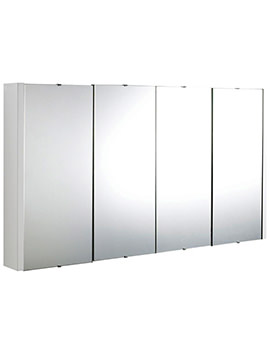 Lauren Design High Gloss White 1200mm 4 Door Mirror Cabinet