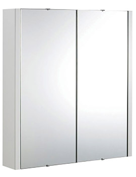 Design High Gloss White 600mm 2 Door Mirror Cabinet