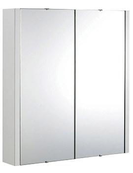 Design High Gloss White 600mm 2 Door Mirror Cabinet