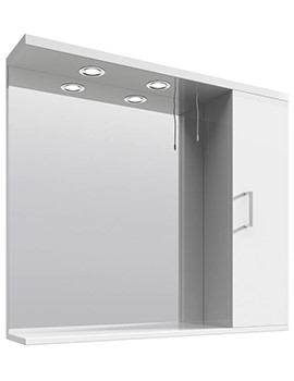 Mayford High Gloss White 850mm Mirror Cabinet With Lights