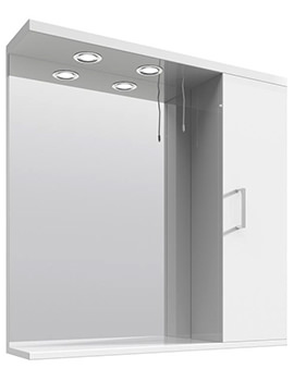 Mayford High Gloss White 750mm Wide Mirror Cabinet With Lights