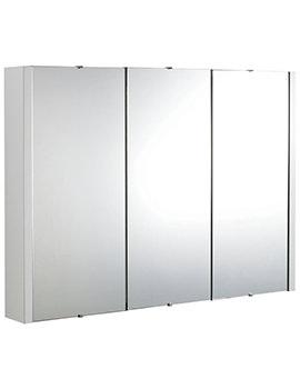 Lauren Design High Gloss White 900mm 3 Door Mirror Cabinet