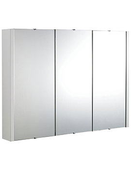 Design High Gloss White 900mm 3 Door Mirror Cabinet