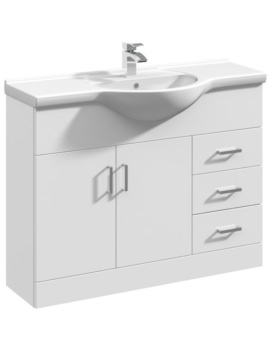1050mm Floor Standing Vanity Unit And Basin High Gloss White