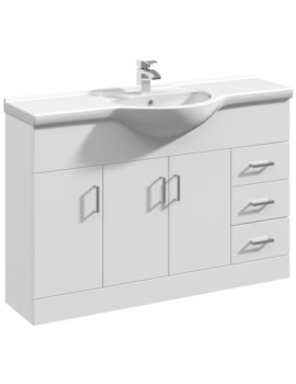 Mayford 1200mm Floor Standing 3 Door And 3 Drawer Cabinet With Basin